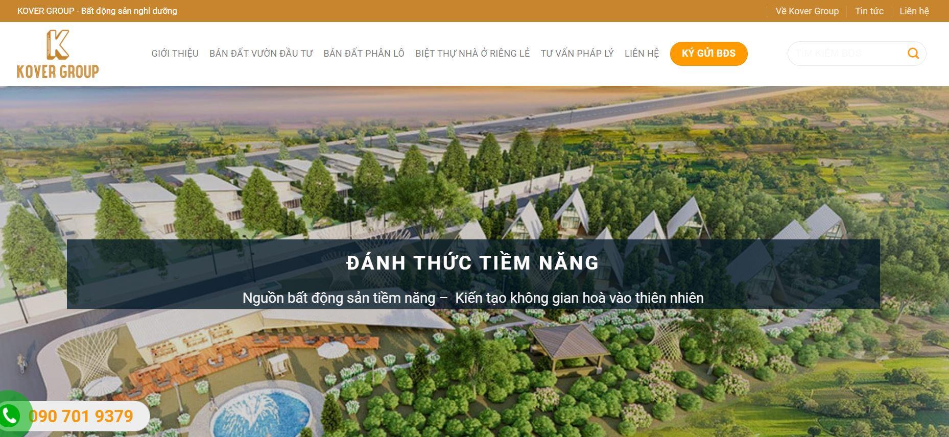 website bất động sản do halo media thiết kế