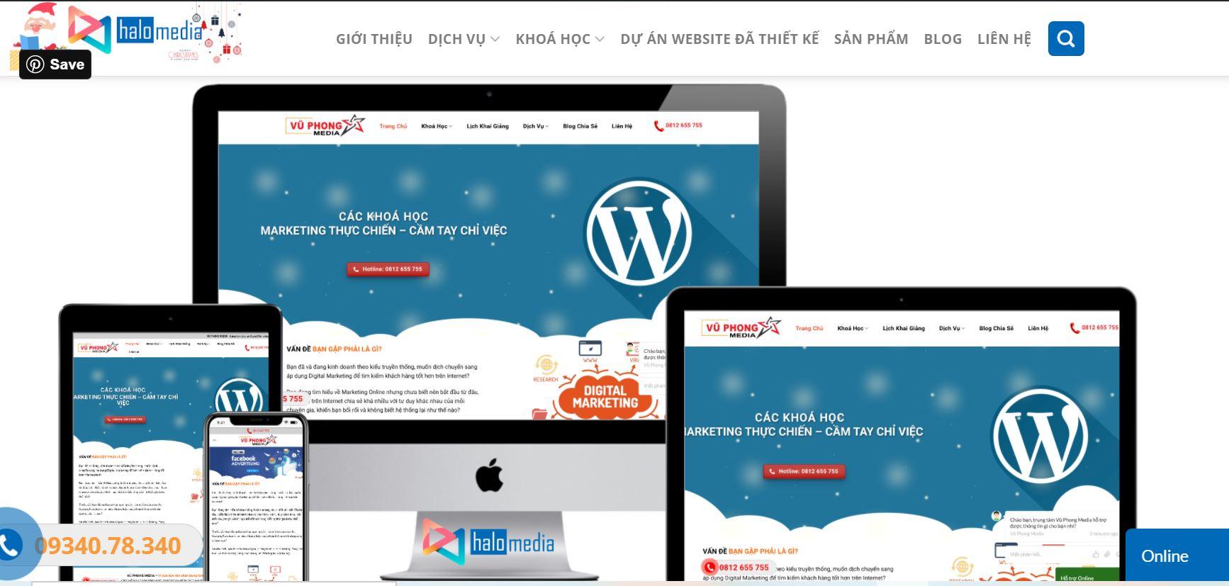 website e-learning do halo media thiết kế
